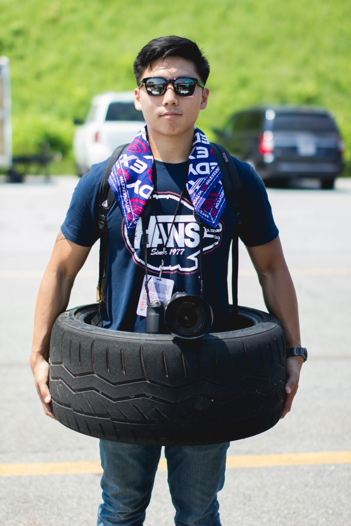 My friend and fellow photographer, Victor Wang, showing off his new (free) tire.