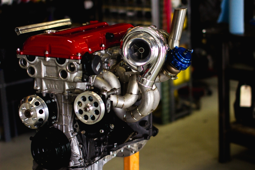 An SR20 being built by Titan Motorsports. With a setup this aggressive, factory internals would obviously need to be replaced to ensure reliability.